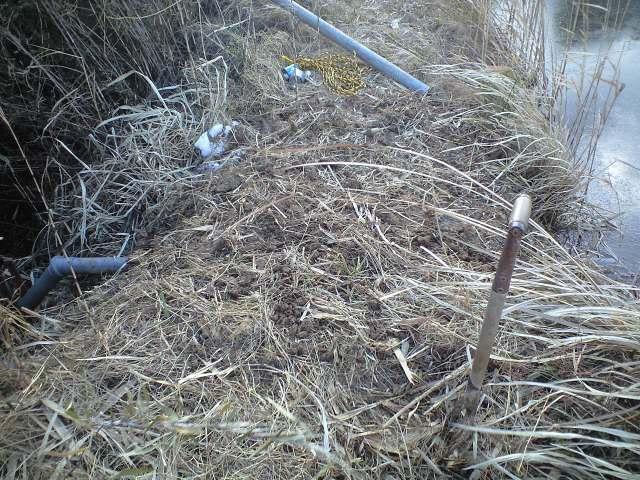 溜め池の排水管工事