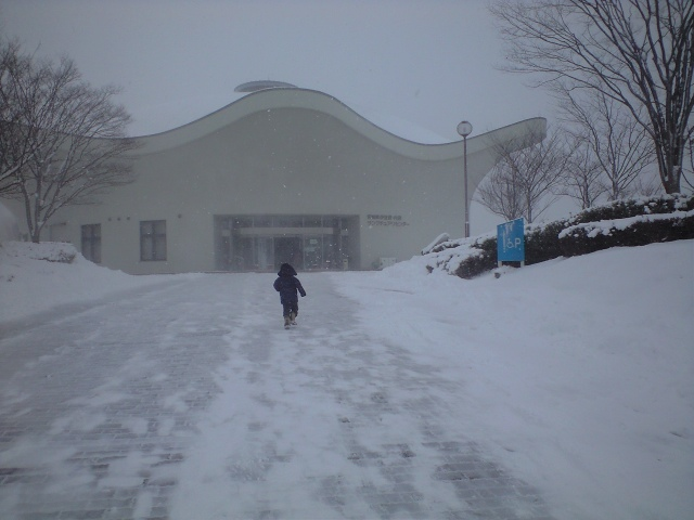 吹雪の中を駆け出す息子!