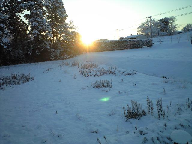 雪景色に朝日見ゆ