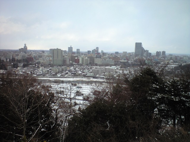 青葉城から仙台を見る