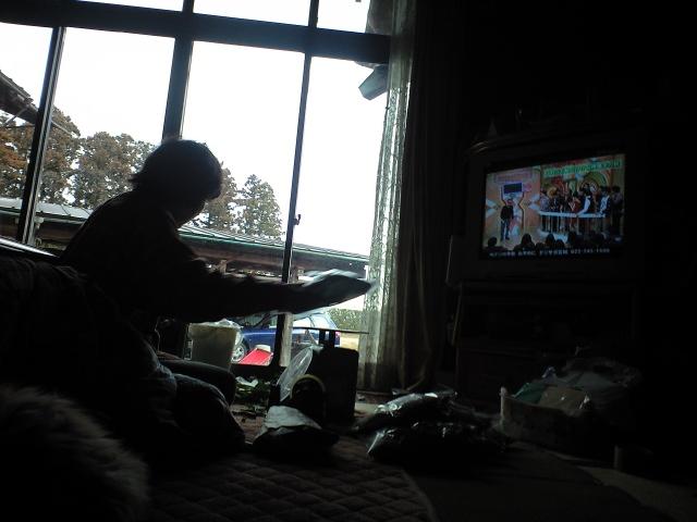 テレビと作業